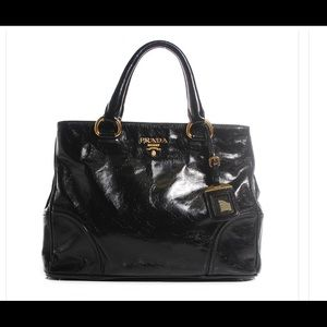 New authentic Prada Vitello shine tote Nero Black